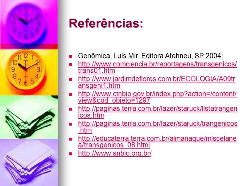 Referências: Genômica, Luís Mir. Editora Atehneu, SP 2004;