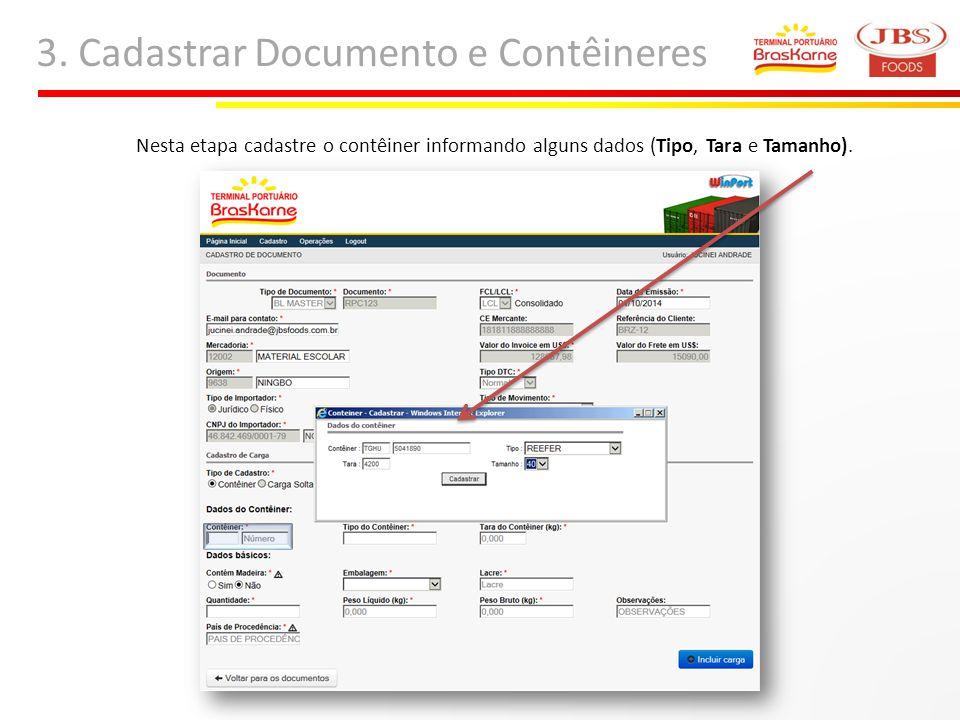 3. Cadastrar Documento e Contêineres