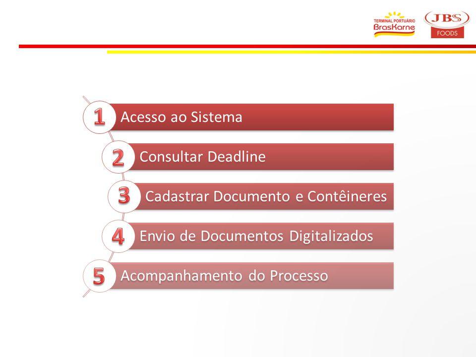 1 2 3 4 5 Acesso ao Sistema Consultar Deadline