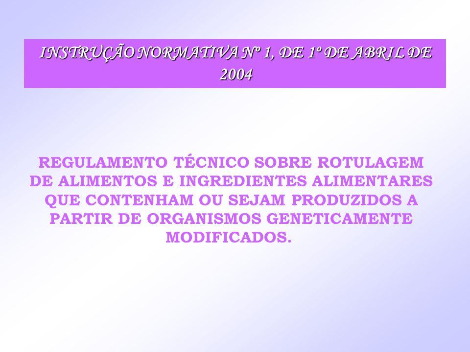 INSTRUÇÃO NORMATIVA Nº 1, DE 1º DE ABRIL DE 2004