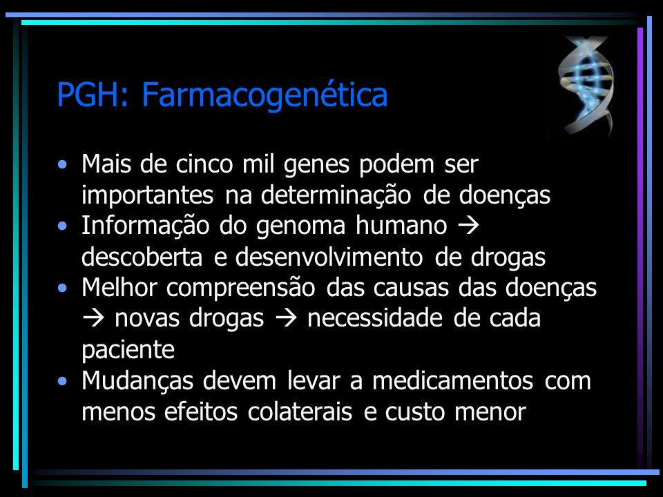 PGH: Farmacogenética Mais de cinco mil genes podem ser importantes na determinação de doenças.