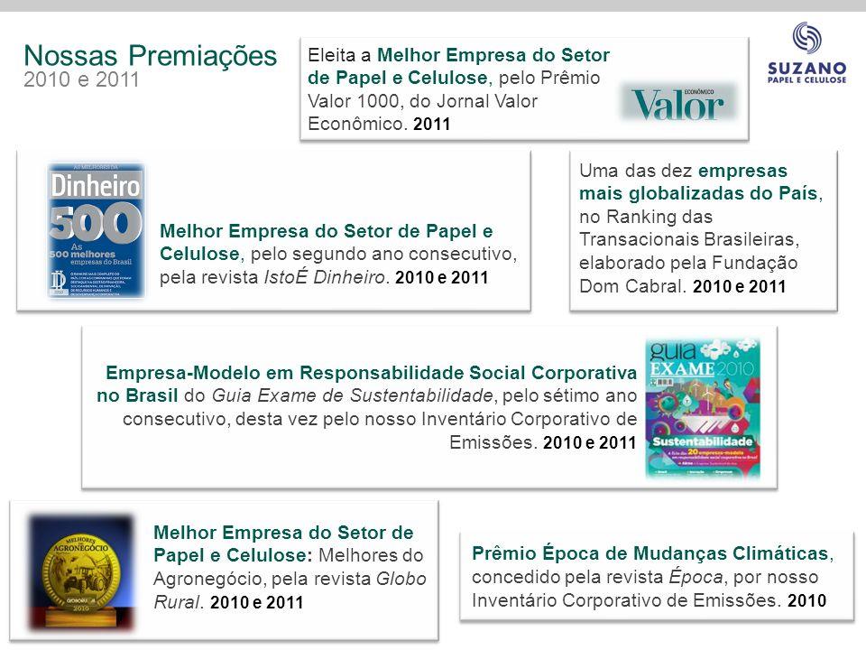 Nossas Premiações 2010 e 2011. Eleita a Melhor Empresa do Setor de Papel e Celulose, pelo Prêmio Valor 1000, do Jornal Valor Econômico. 2011.