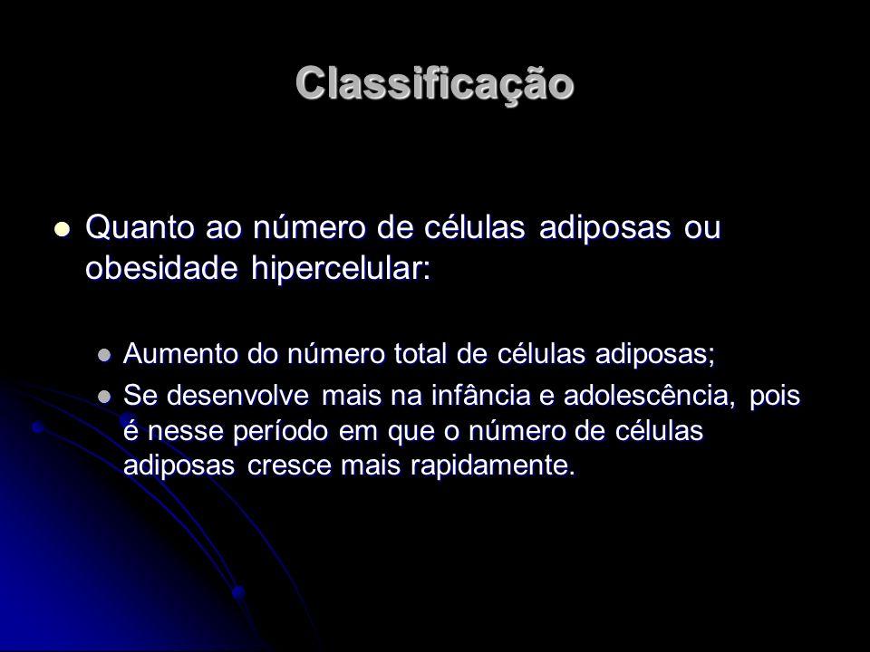 Classificação Quanto ao número de células adiposas ou obesidade hipercelular: Aumento do número total de células adiposas;
