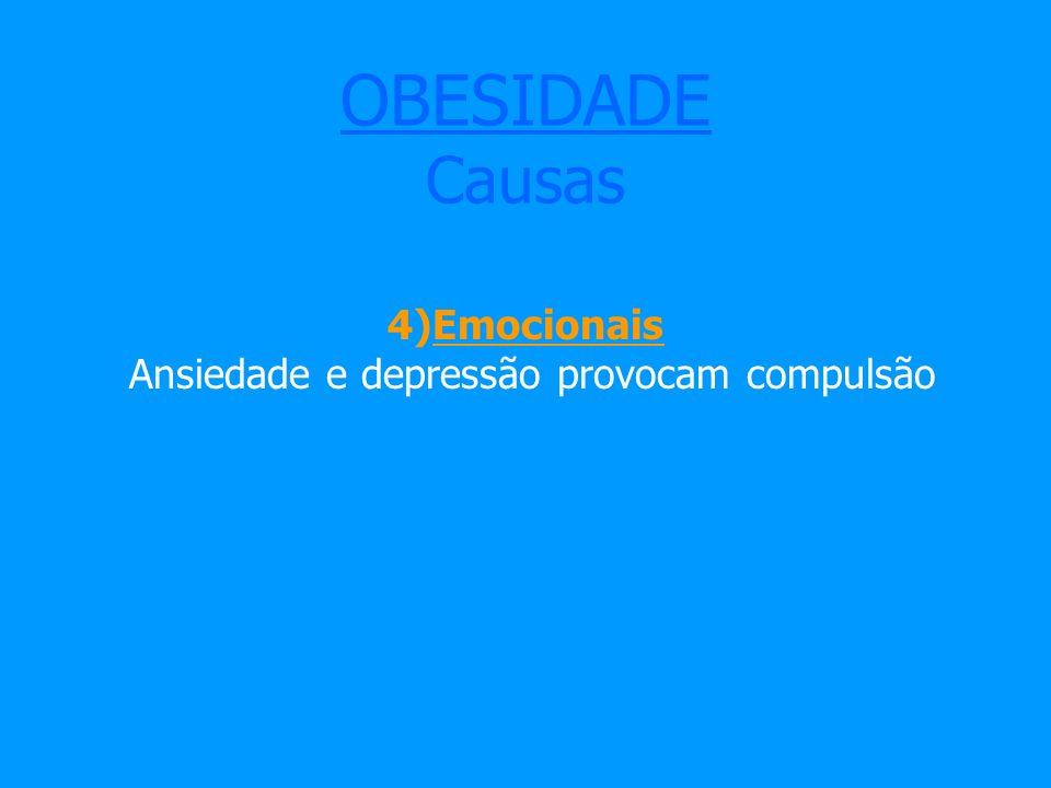 OBESIDADE Causas 4)Emocionais Ansiedade e depressão provocam compulsão