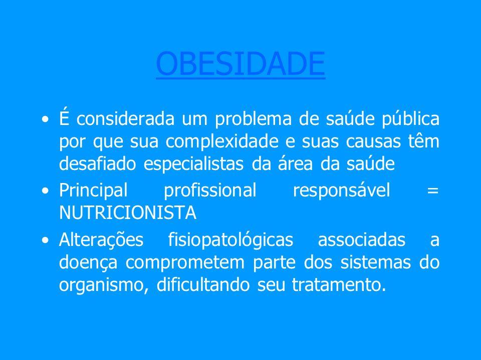 OBESIDADEÉ considerada um problema de saúde pública por que sua complexidade e suas causas têm desafiado especialistas da área da saúde.