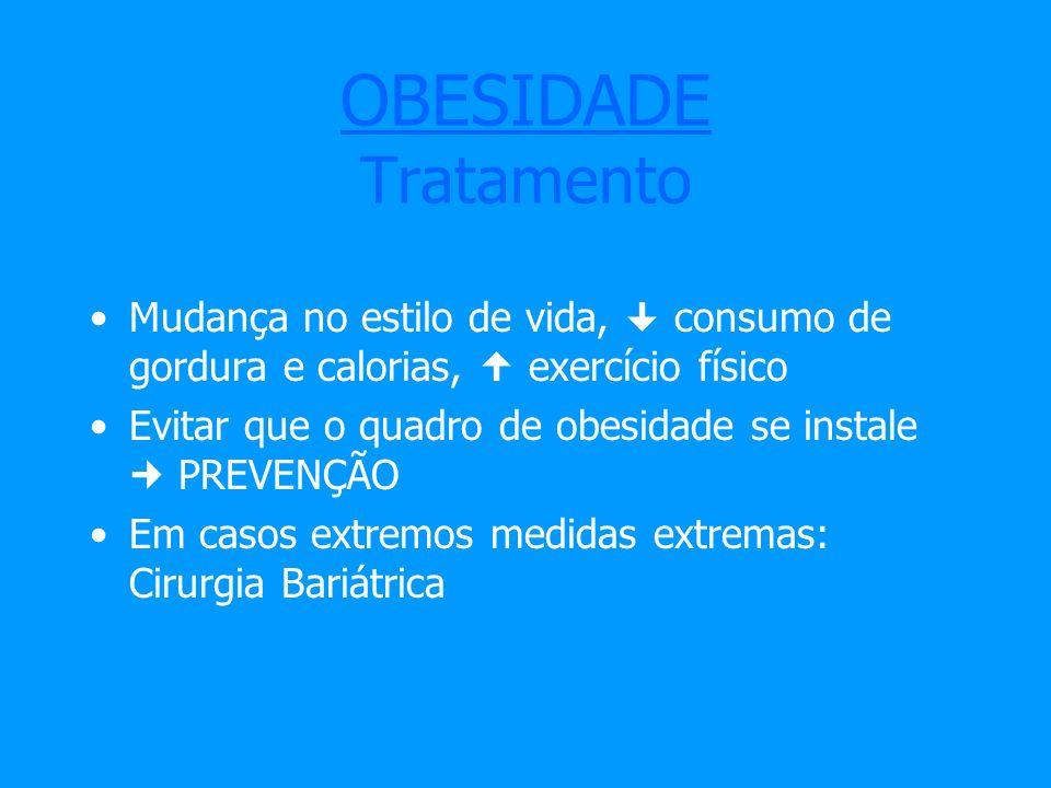 OBESIDADE Tratamento Mudança no estilo de vida,  consumo de gordura e calorias,  exercício físico.