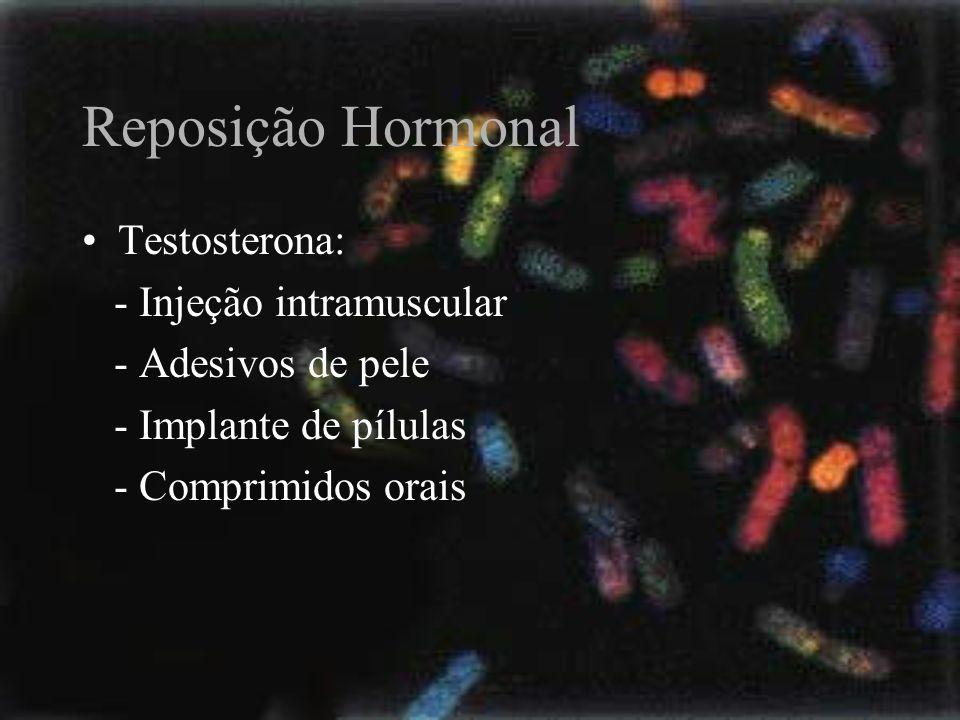 Reposição Hormonal Testosterona: - Injeção intramuscular