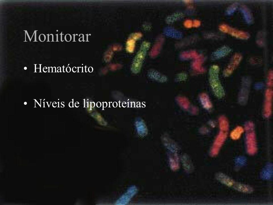 Monitorar Hematócrito Níveis de lipoproteínas