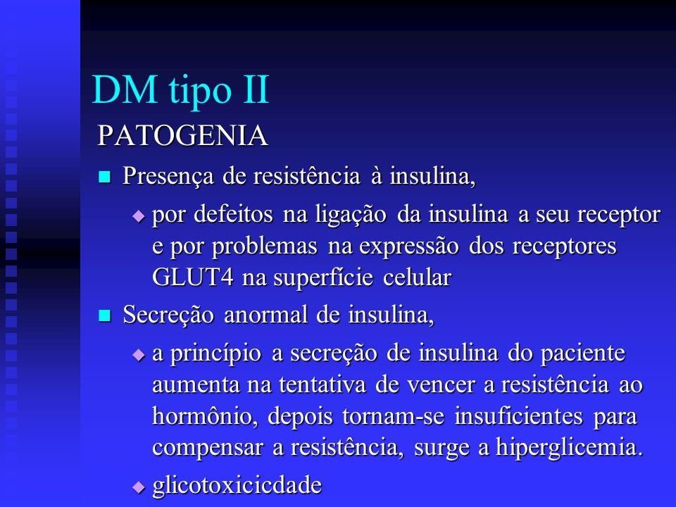 DM tipo II PATOGENIA Presença de resistência à insulina,