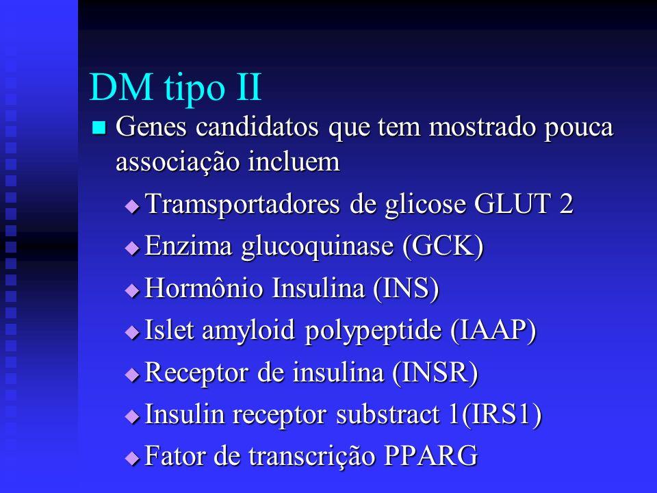 DM tipo II Genes candidatos que tem mostrado pouca associação incluem