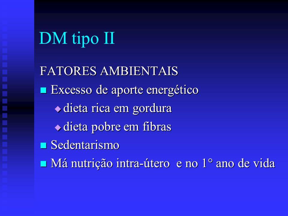 DM tipo II FATORES AMBIENTAIS Excesso de aporte energético