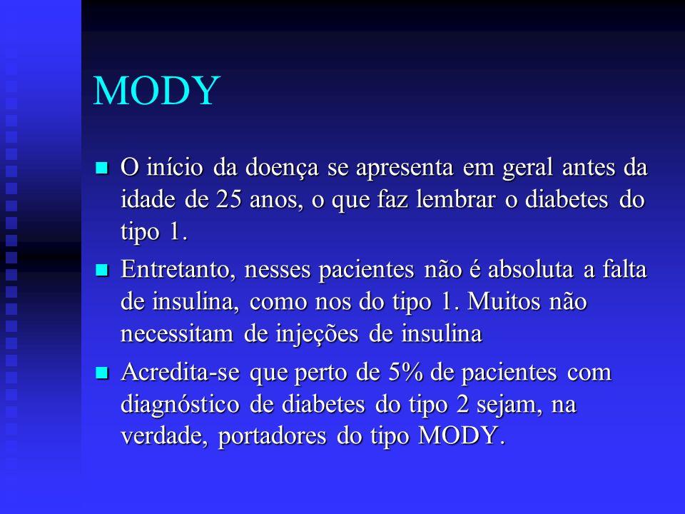 MODY O início da doença se apresenta em geral antes da idade de 25 anos, o que faz lembrar o diabetes do tipo 1.