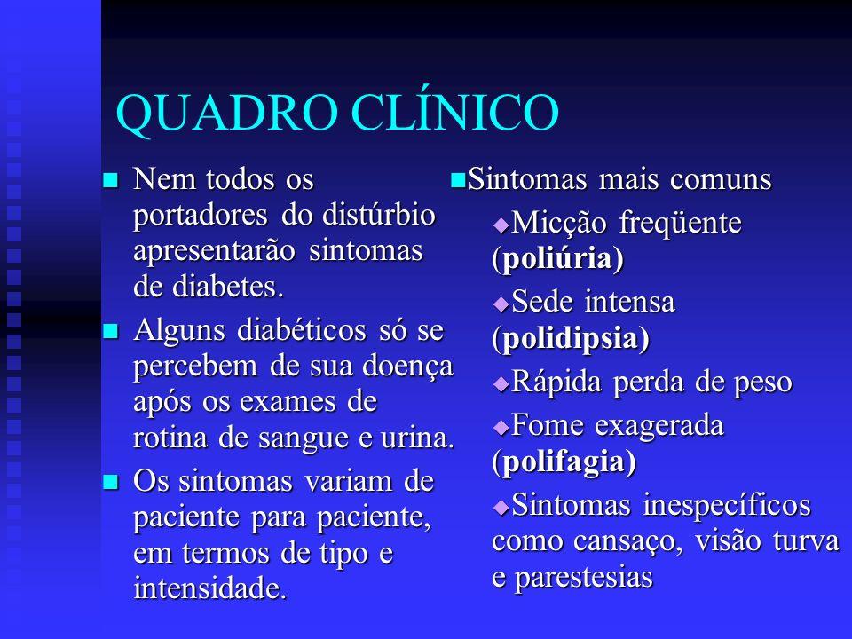 QUADRO CLÍNICO Nem todos os portadores do distúrbio apresentarão sintomas de diabetes.