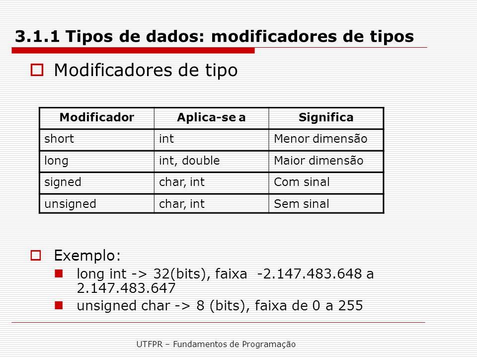 3.1.1 Tipos de dados: modificadores de tipos