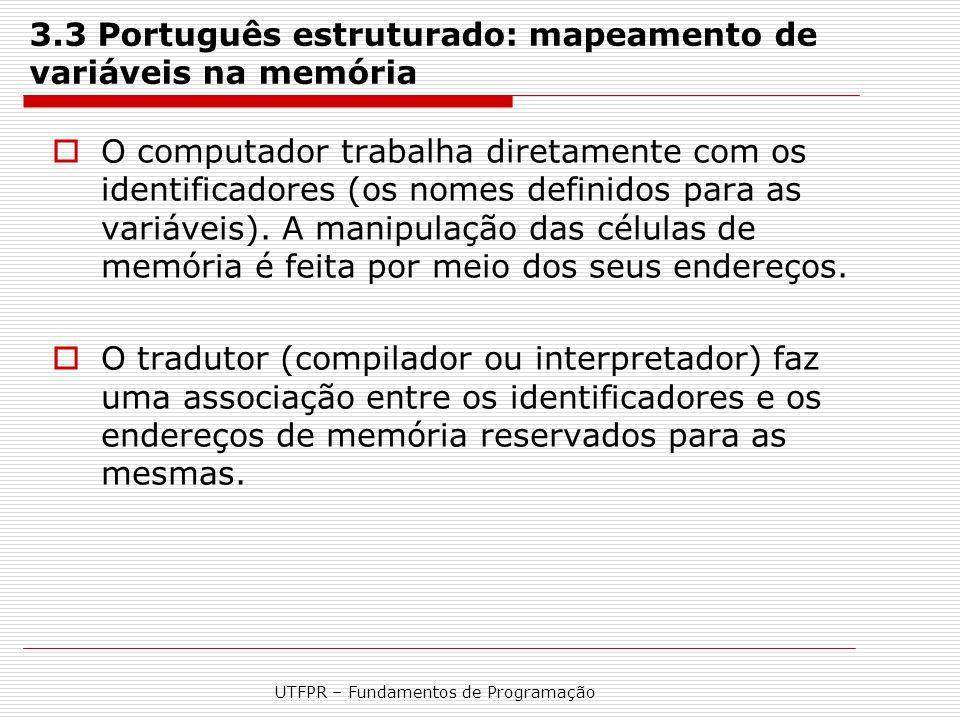 3.3 Português estruturado: mapeamento de variáveis na memória