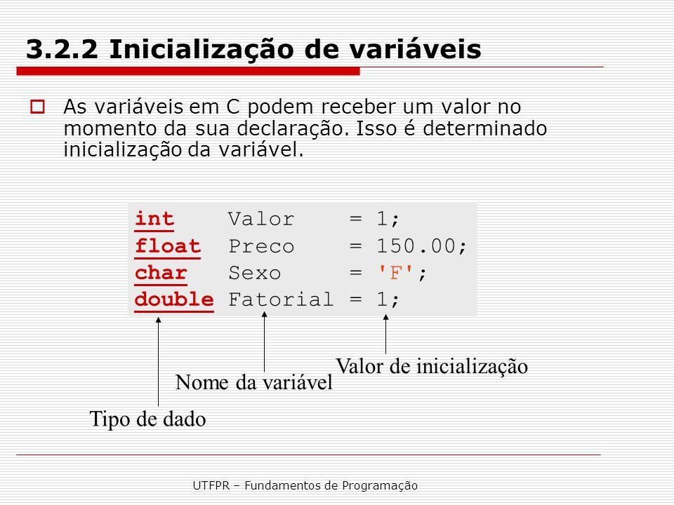 3.2.2 Inicialização de variáveis