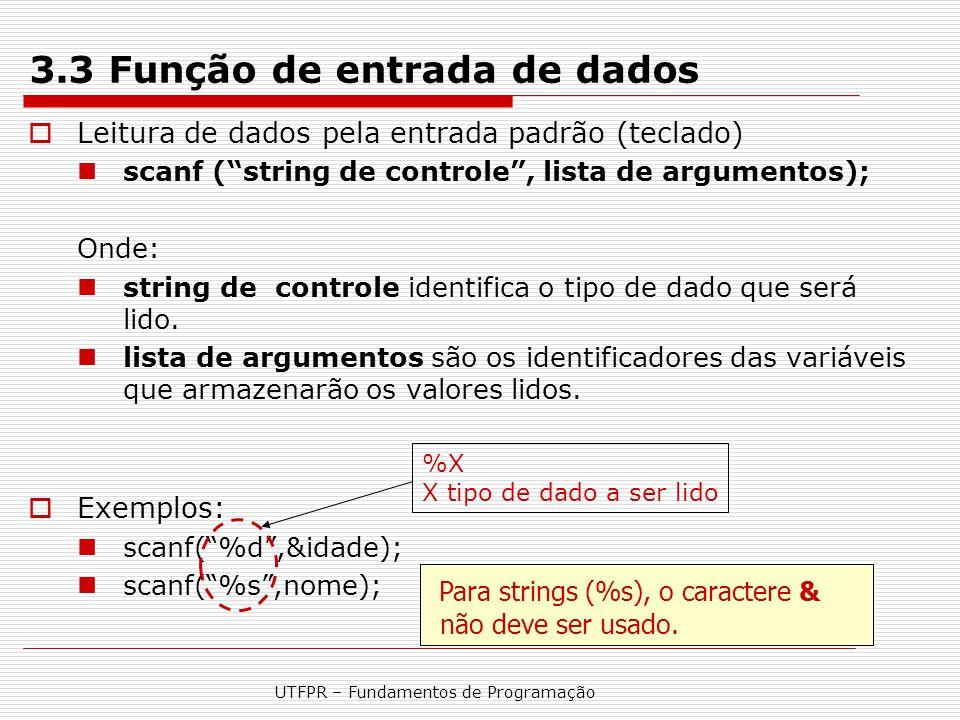3.3 Função de entrada de dados