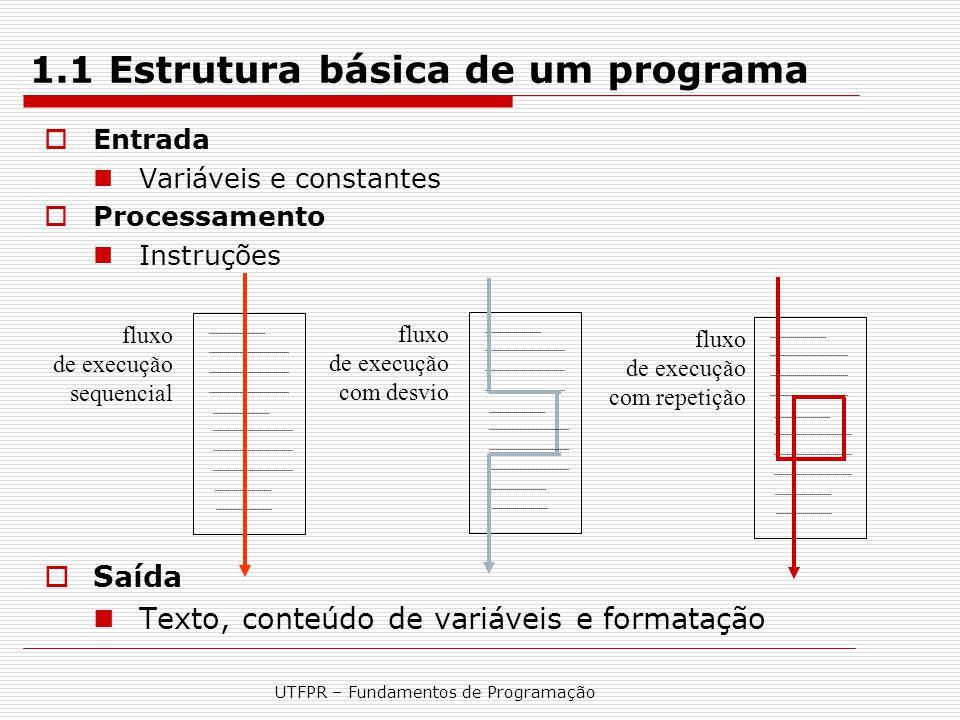 1.1 Estrutura básica de um programa