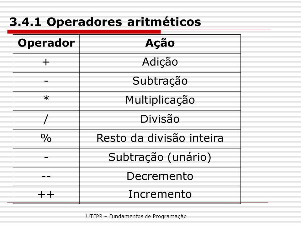 3.4.1 Operadores aritméticos
