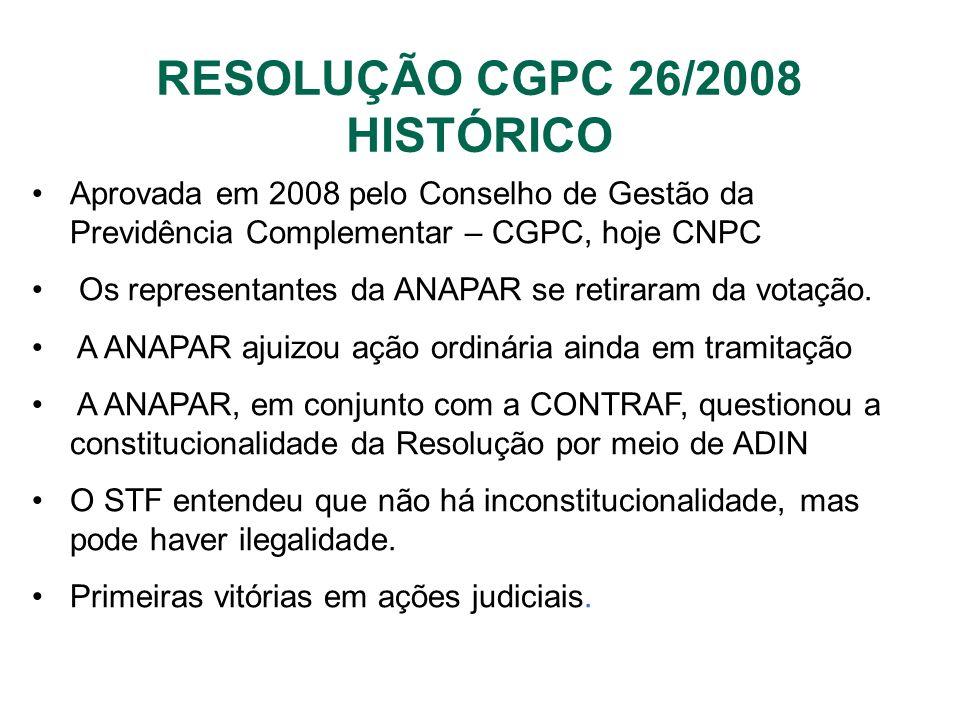 RESOLUÇÃO CGPC 26/2008 HISTÓRICO