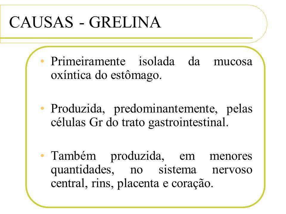 CAUSAS - GRELINA Primeiramente isolada da mucosa oxíntica do estômago.