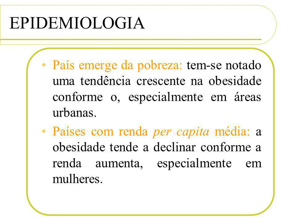 EPIDEMIOLOGIA País emerge da pobreza: tem-se notado uma tendência crescente na obesidade conforme o, especialmente em áreas urbanas.