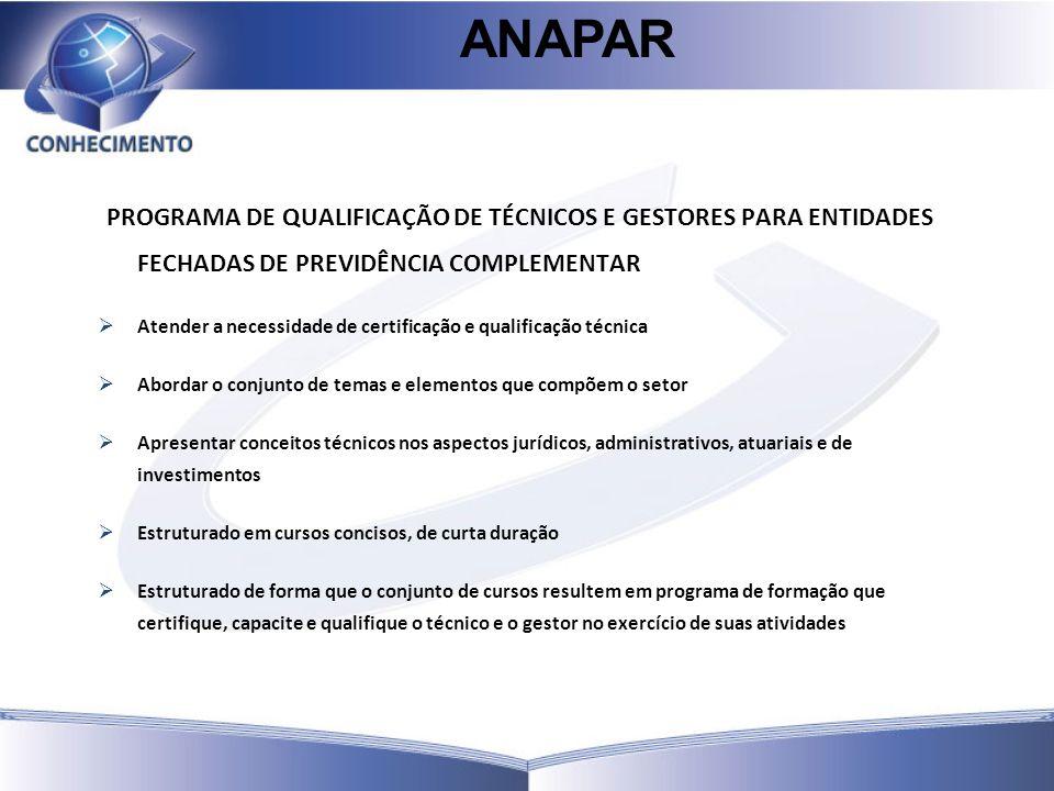 ANAPAR PROGRAMA DE QUALIFICAÇÃO DE TÉCNICOS E GESTORES PARA ENTIDADES FECHADAS DE PREVIDÊNCIA COMPLEMENTAR.