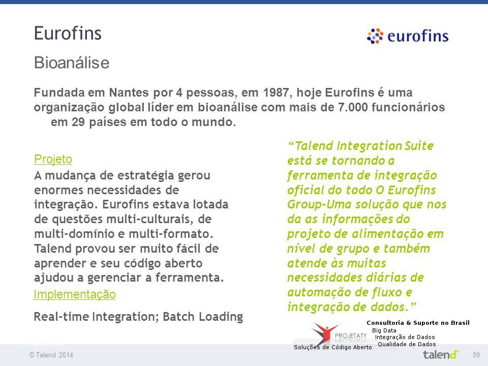 Eurofins Bioanálise. Fundada em Nantes por 4 pessoas, em 1987, hoje Eurofins é uma.