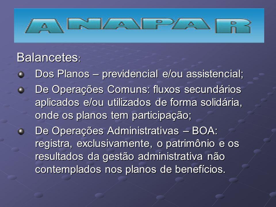 Balancetes: Dos Planos – previdencial e/ou assistencial;