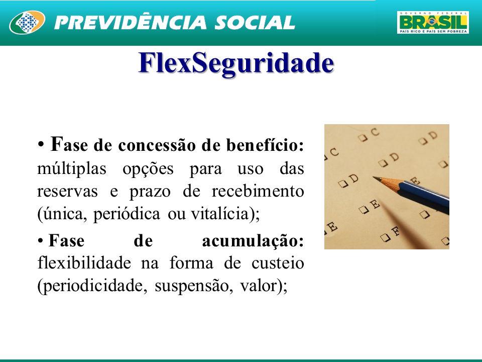 FlexSeguridade Fase de concessão de benefício: múltiplas opções para uso das reservas e prazo de recebimento (única, periódica ou vitalícia);