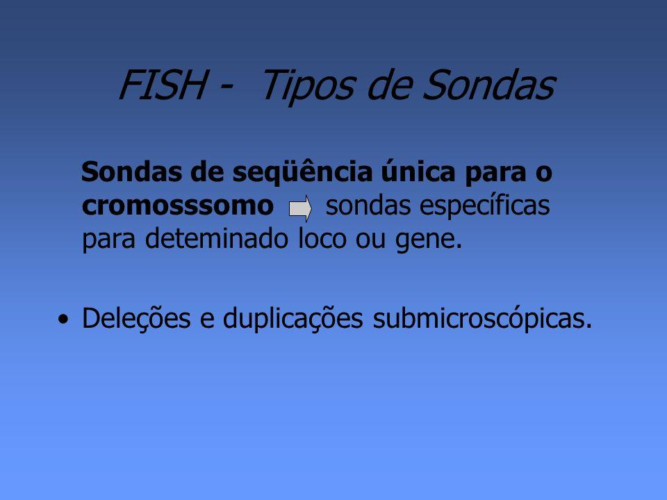FISH - Tipos de Sondas Sondas de seqüência única para o cromosssomo sondas específicas para deteminado loco ou gene.
