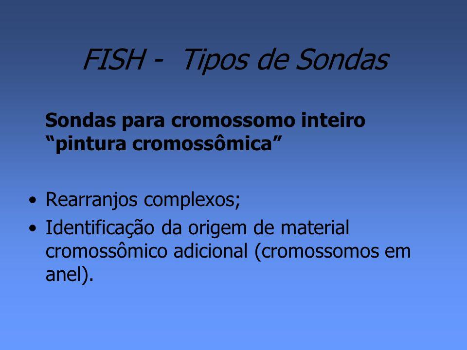 FISH - Tipos de Sondas Sondas para cromossomo inteiro pintura cromossômica Rearranjos complexos;