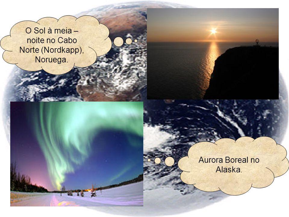 O Sol à meia – noite no Cabo Norte (Nordkapp), Noruega.