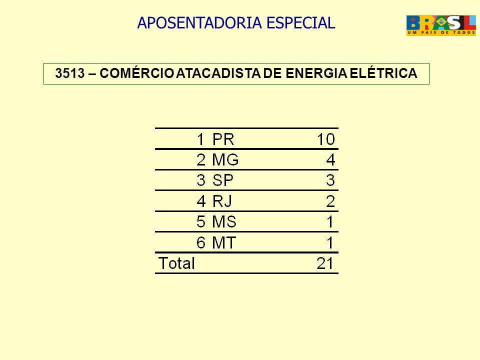 3513 – COMÉRCIO ATACADISTA DE ENERGIA ELÉTRICA