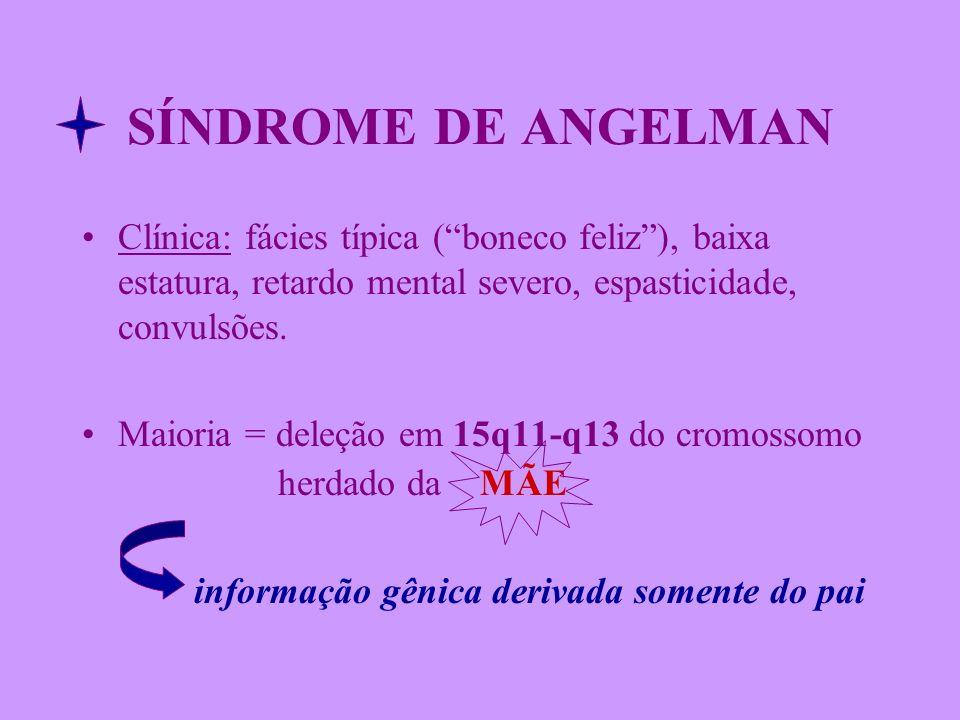 SÍNDROME DE ANGELMAN Clínica: fácies típica ( boneco feliz ), baixa estatura, retardo mental severo, espasticidade, convulsões.