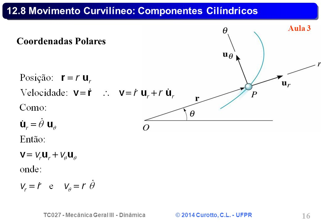 12.8 Movimento Curvilíneo: Componentes Cilíndricos