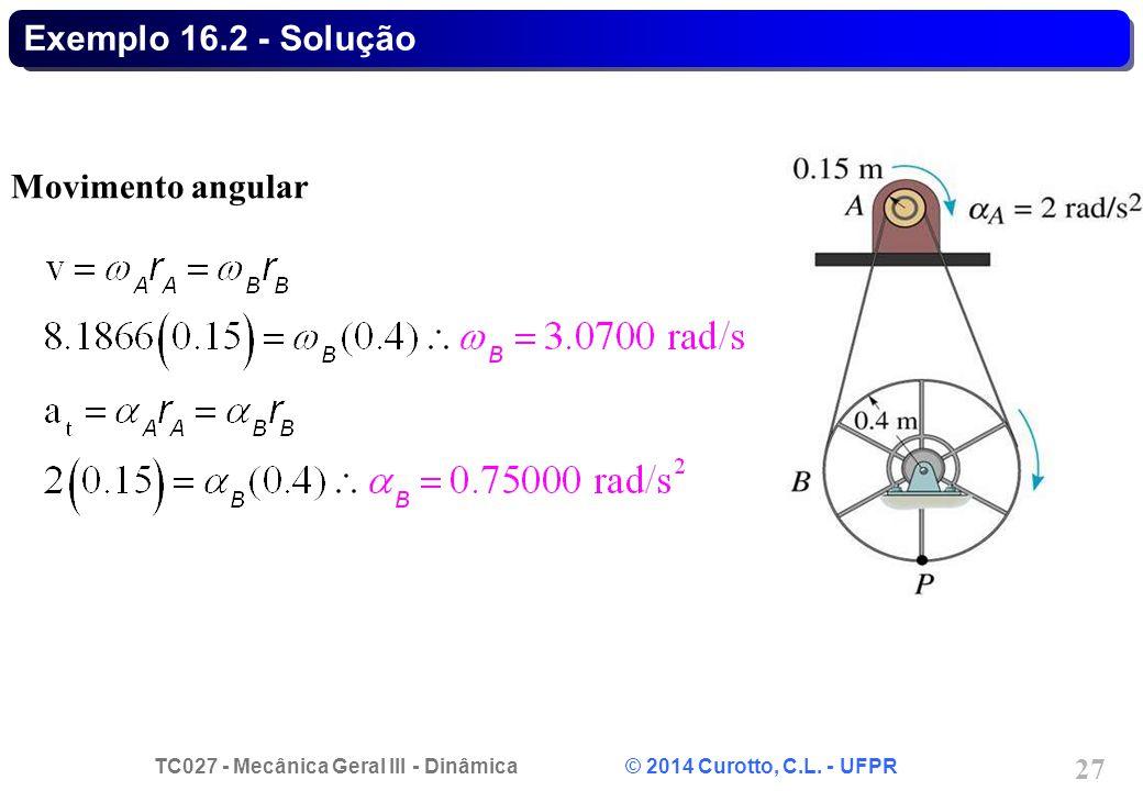 Exemplo 16.2 - Solução Movimento angular