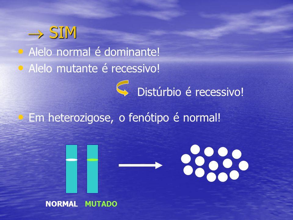  SIM Alelo normal é dominante! Alelo mutante é recessivo!