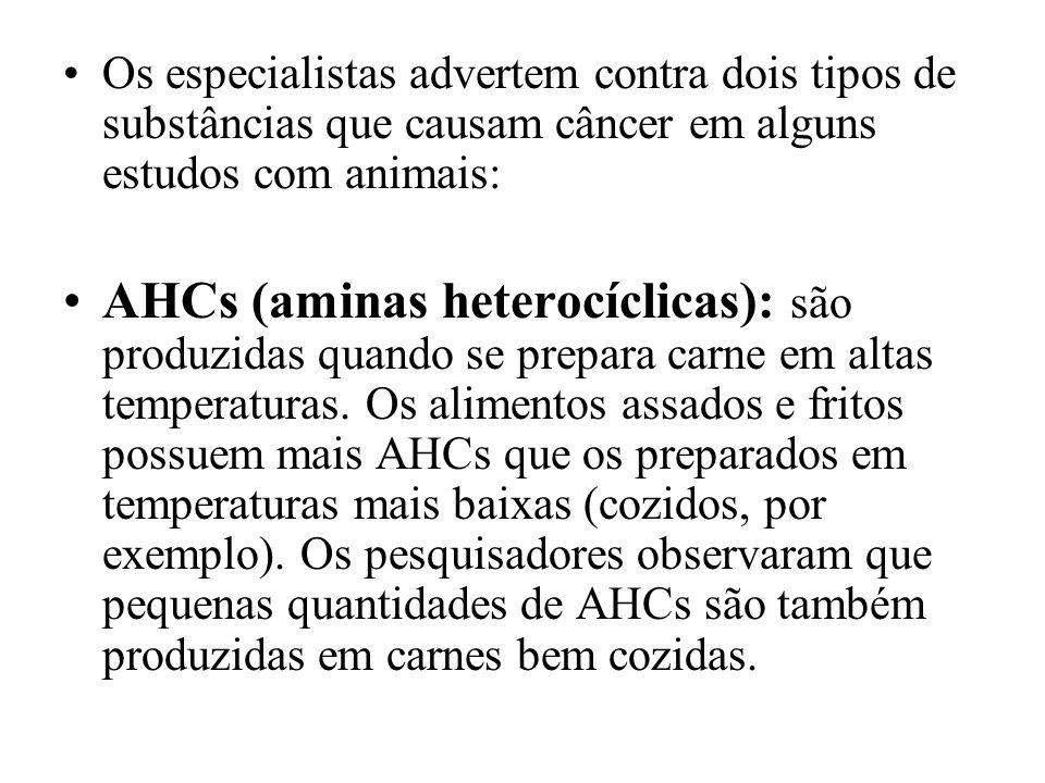 Os especialistas advertem contra dois tipos de substâncias que causam câncer em alguns estudos com animais: