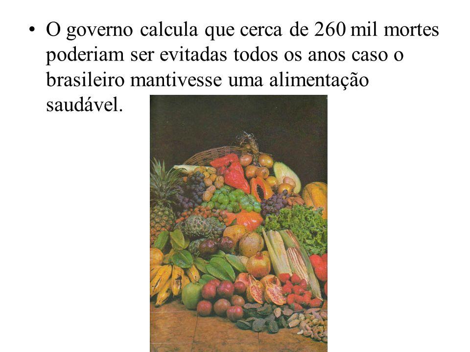 O governo calcula que cerca de 260 mil mortes poderiam ser evitadas todos os anos caso o brasileiro mantivesse uma alimentação saudável.