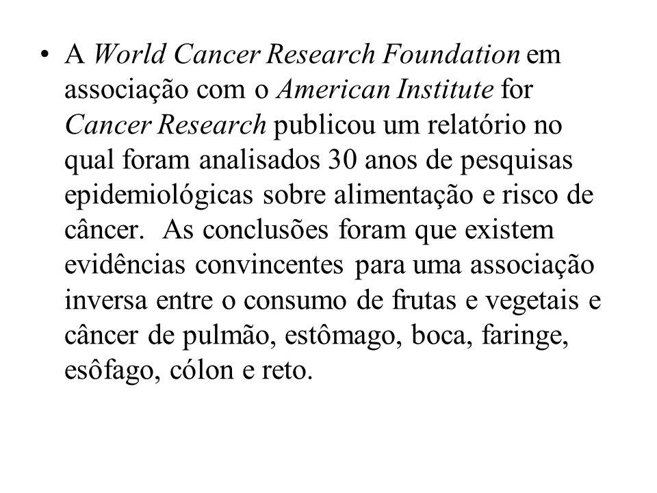 A World Cancer Research Foundation em associação com o American Institute for Cancer Research publicou um relatório no qual foram analisados 30 anos de pesquisas epidemiológicas sobre alimentação e risco de câncer.