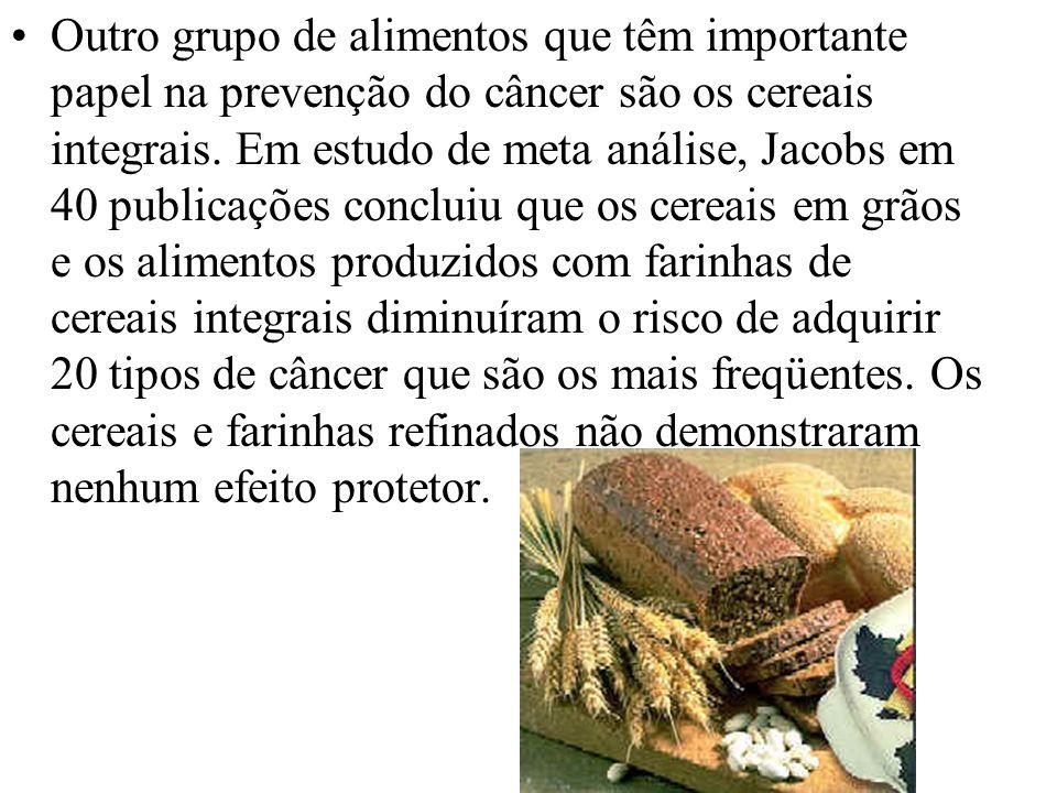 Outro grupo de alimentos que têm importante papel na prevenção do câncer são os cereais integrais.