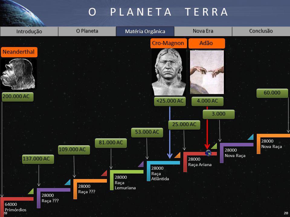 Cro-Magnon Adão Neanderthal Matéria Orgânica 60.000 200.000 AC