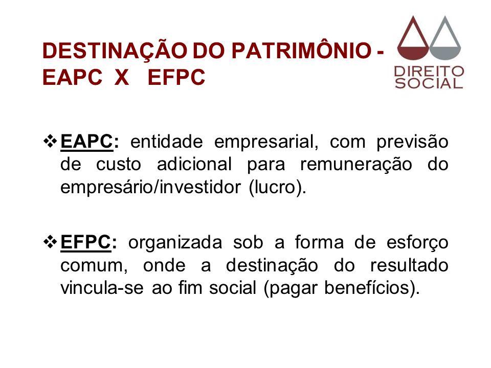 DESTINAÇÃO DO PATRIMÔNIO - EAPC X EFPC