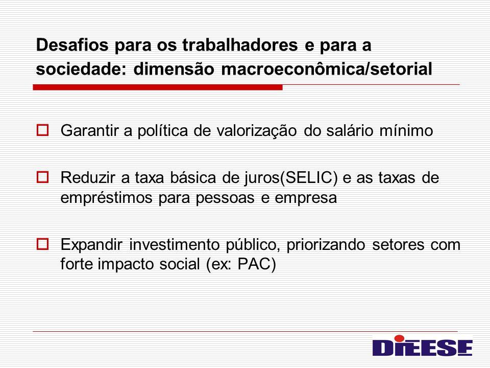 Desafios para os trabalhadores e para a sociedade: dimensão macroeconômica/setorial