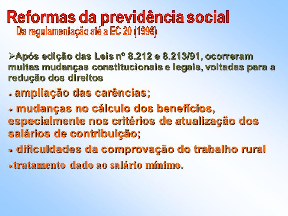 Reformas da previdência social Da regulamentação até a EC 20 (1998)