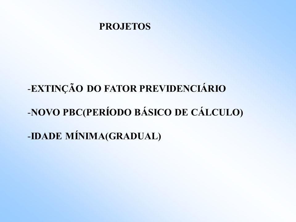PROJETOS EXTINÇÃO DO FATOR PREVIDENCIÁRIO NOVO PBC(PERÍODO BÁSICO DE CÁLCULO) IDADE MÍNIMA(GRADUAL)