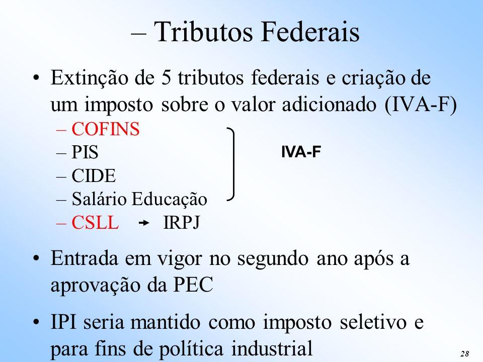 – Tributos Federais Extinção de 5 tributos federais e criação de um imposto sobre o valor adicionado (IVA-F)