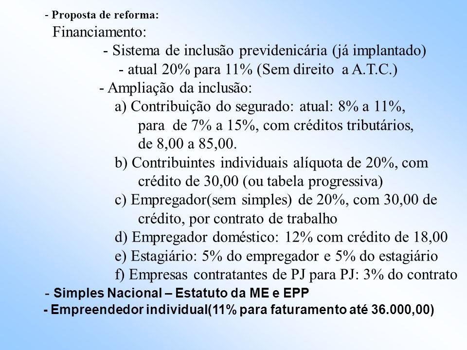 - Sistema de inclusão previdenicária (já implantado)