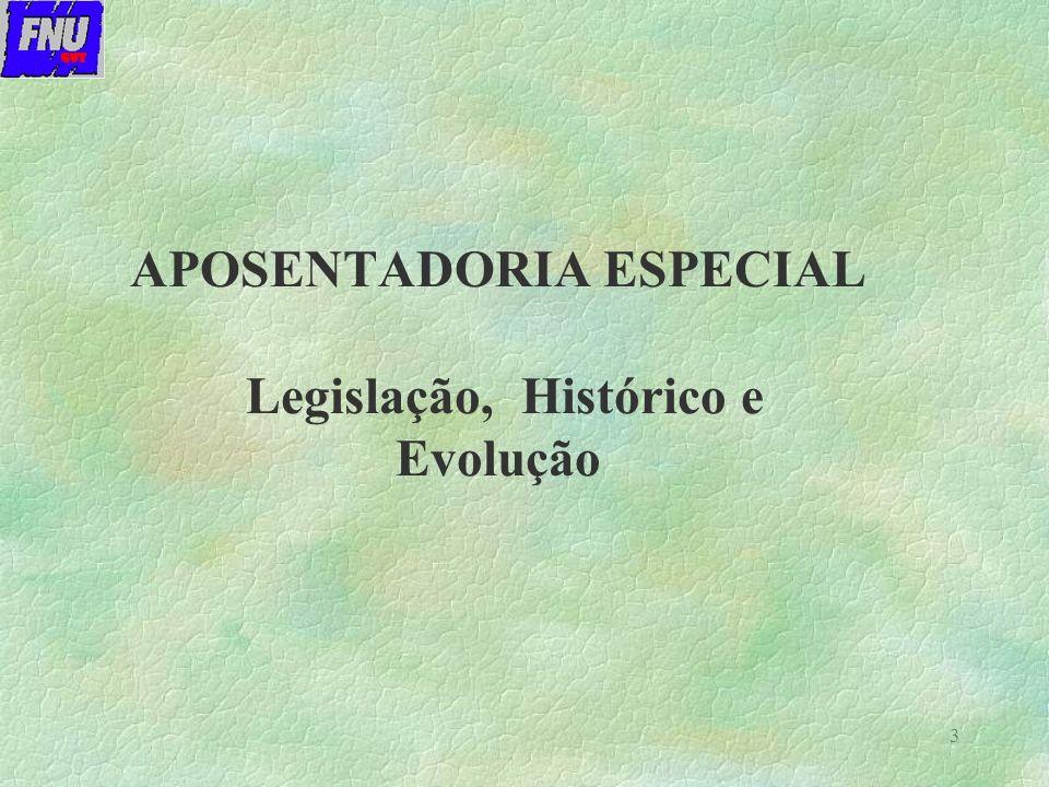 APOSENTADORIA ESPECIAL Legislação, Histórico e Evolução